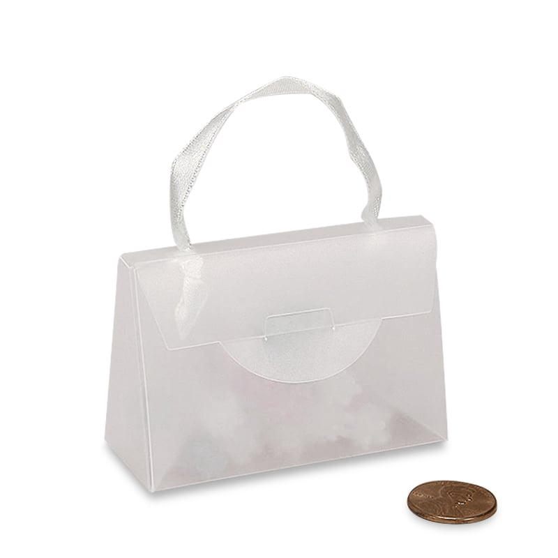 White Purse Boxes with Ribbon Handles Cardboard - Quantity: 12 - Favor Boxes Width: 2 3/8