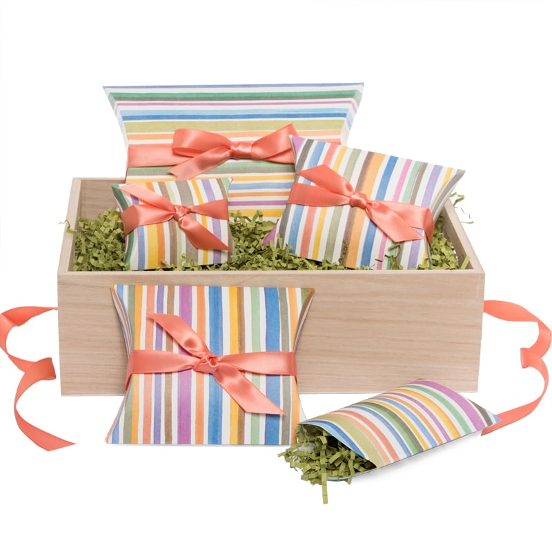 Multi-Colored Striped Pillow Boxes