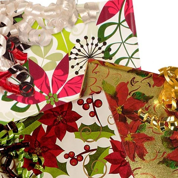 Christmas Poinsettia Pattern Wrapping Paper