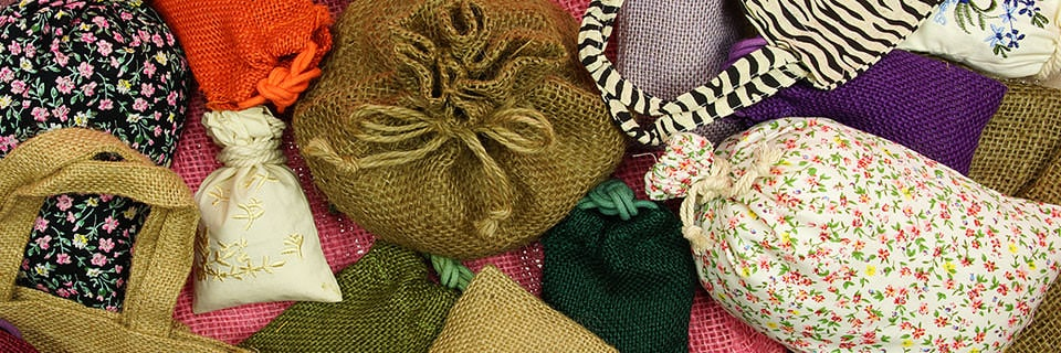 Cotton, Jute, Linen Fabric Bags Pouches