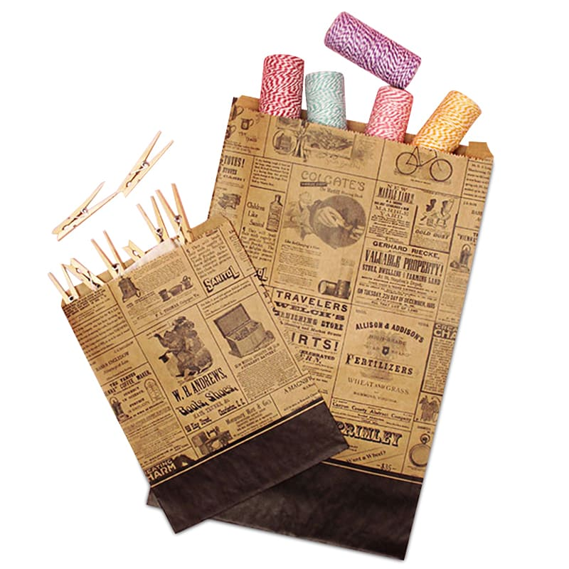"""Antique Newspaper"" Print Merchandise Bags"