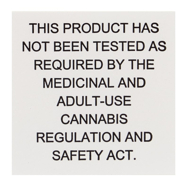 Ca Emergency Regulation Labels With Testing Disclaimer