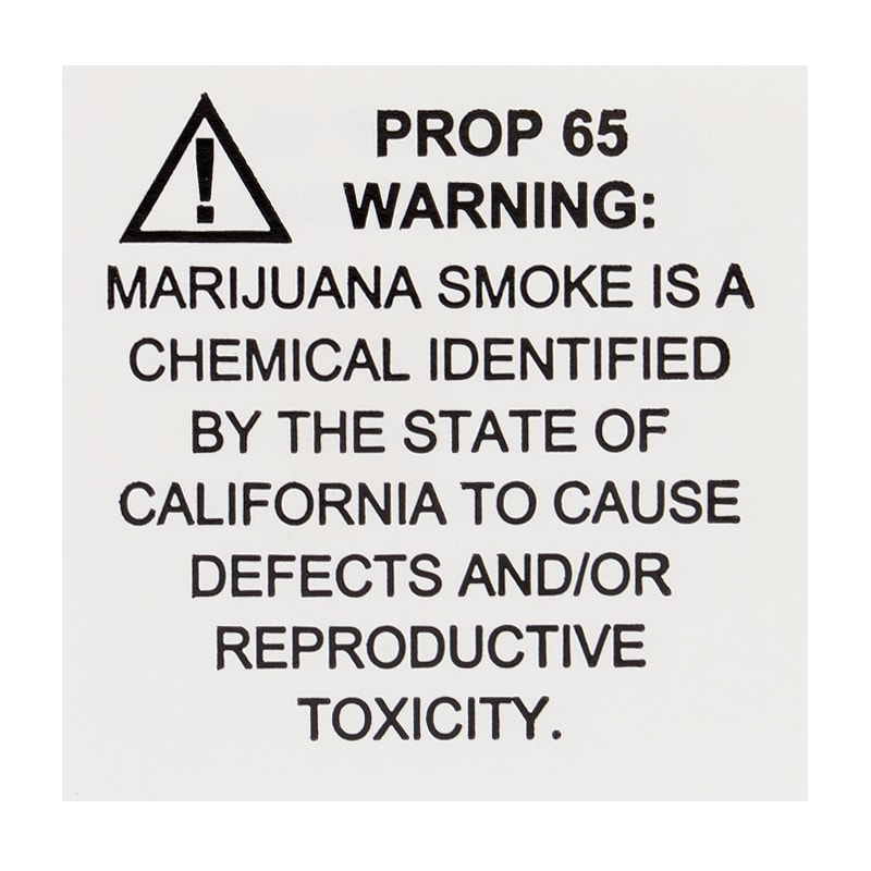 Ca Emergency Regulation Labels W/ Prop 65 Warning