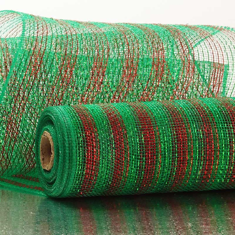 "¾"" Stripe Half-Solid Metallic 10"" Deco Mesh"