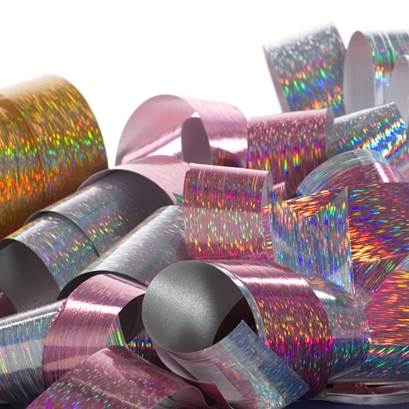 Rain Holographic Poly Ribbon
