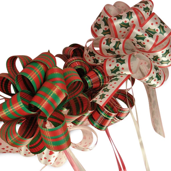 "5-1/2"" Christmas Poly Pull Bows"
