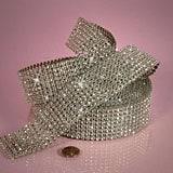 Silver 8 Lines Faux Jewel Ribbon - Silver