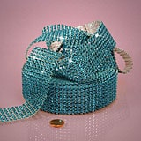 Silver 8 Lines Faux Jewel Ribbon - Turquoise