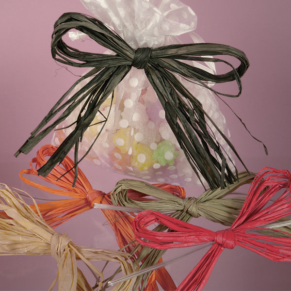 Colored Raffia Bows With Wire Ties