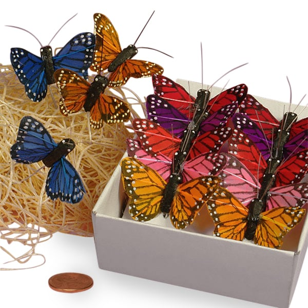 "1-1/2"" Feathery Monarch Butterfly Ties"