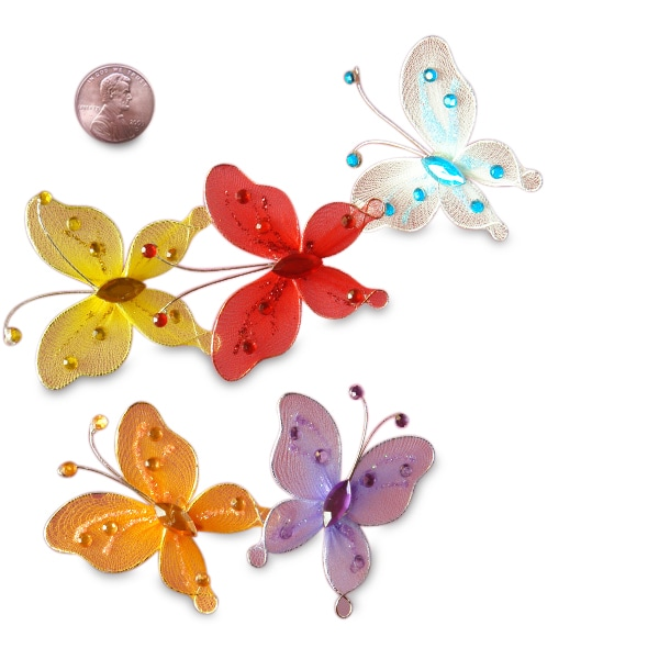 "2-1/8"" Assorted Sparkle Butterfly Decor"
