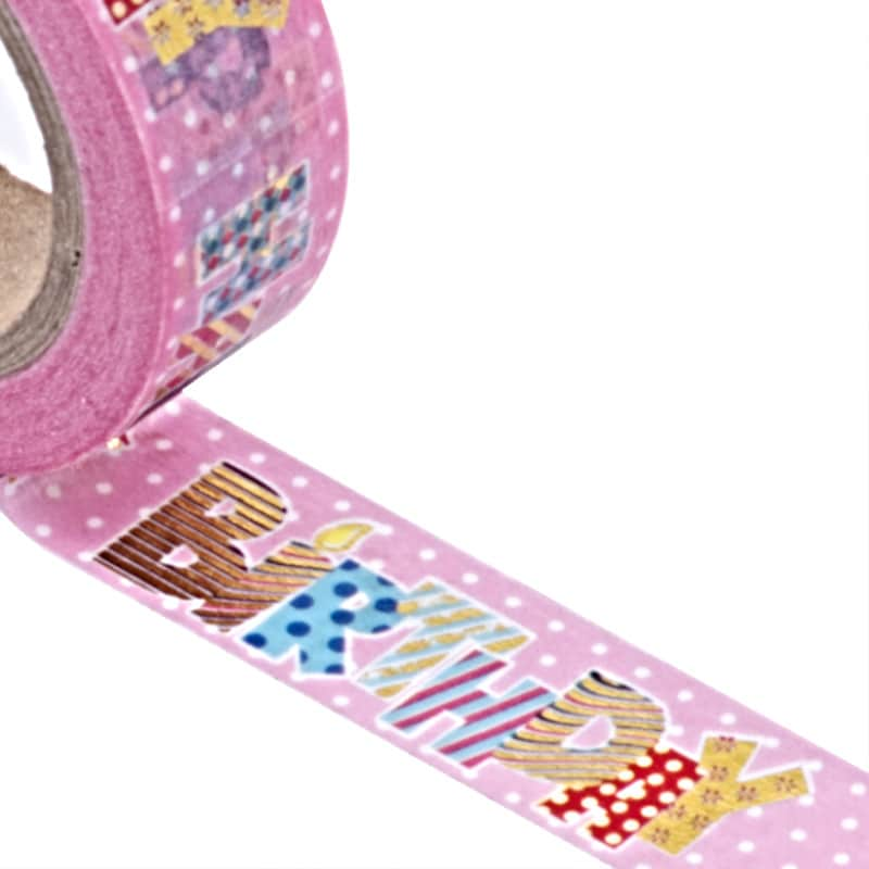 """""""Happy"""" Washi Tape Colored - 9/16"""" X 10 Yards - Shipping Supplies by Paper Mart"""