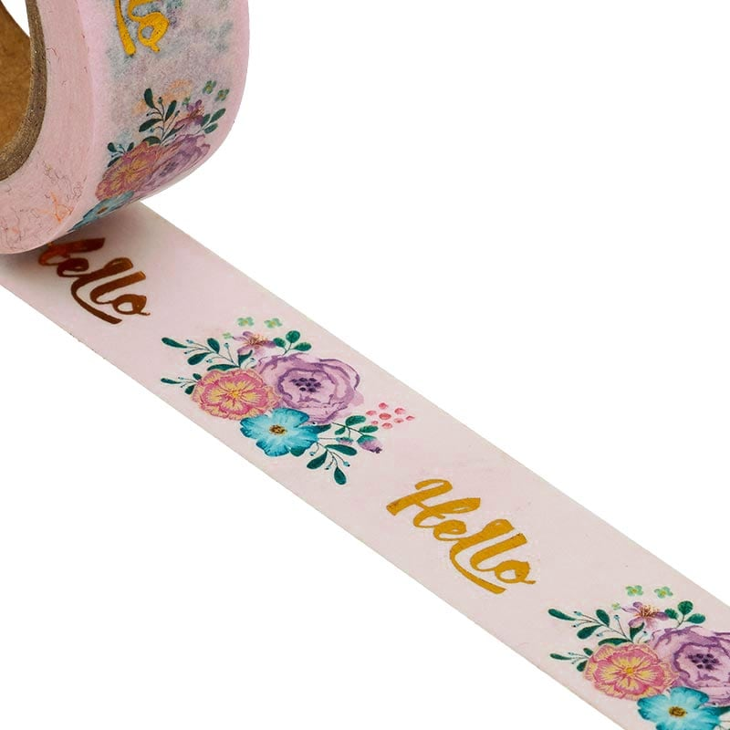 """""""Hello"""" On Flowers Washi Tape Colored - 9/16"""" X 10 Yards - Shipping Supplies by Paper Mart"""