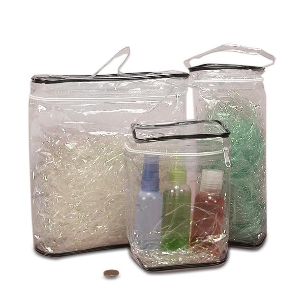 Clear Soft Vinyl Oval Flat Top Zipper Bag With Black Trim