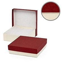 #33 Cream/Red Jewelry Box - 3-1/2 X 3-1/2 X 1 - Cardboard - Quantity: 100 - Jewelry Boxes by Paper Mart