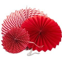 Red 3pc Spiral Paper Fan Set - Wedding Packaging by Paper Mart