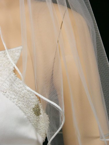 Rattail cord on the edge of tulle